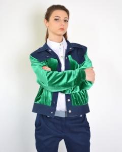 Куртка бархатная комбинированная