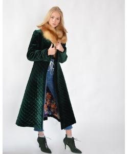 Пальто бархатное зимнее с мехом