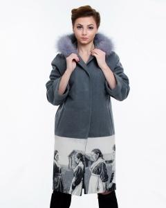 Пальто драповое с гобеленом