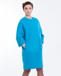 Пальто кашемировое голубое