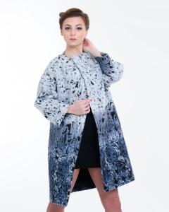 Пальто шерстяное разноцветное