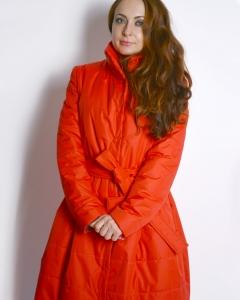 Пальто плащевое красное