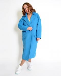 Пальто прямое голубое