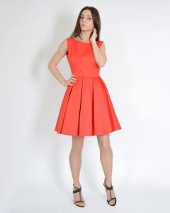Платье со складками красное