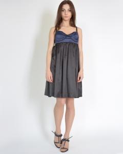 Платье шелковое комбинированное