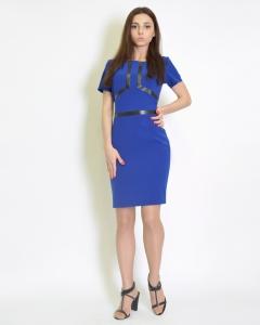 Платье приталенное синее
