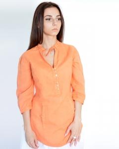 Рубашка льняная оранжевая