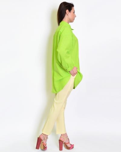 Рубашка льняная зеленая